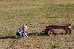 Criança e vagão Fotografia de Stock