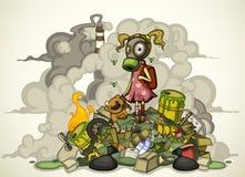 Criança em estar em uma pilha do lixo. Isolado Fotos de Stock