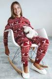 Criança em pijamas do inverno Foto de Stock Royalty Free