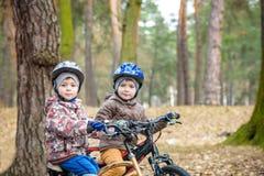 Criança em uma bicicleta na floresta no amanhecer Menino que dá um ciclo o Imagens de Stock