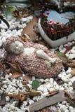 Criança em uma cama de rosas Fotografia de Stock