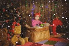 Criança em uma cesta perto da árvore do ano novo Imagens de Stock Royalty Free