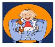Criança engraçada da caricatura com seus animais de estimação Imagens de Stock Royalty Free