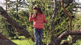 A criança está escalando a árvore A menina está jogando no exterior Aventura do crianças Infância despreocupada feliz filme