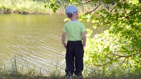 A criança está no banco de rio e olha no rio vídeos de arquivo