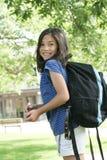 Criança excitada sobre a escola Fotografia de Stock Royalty Free