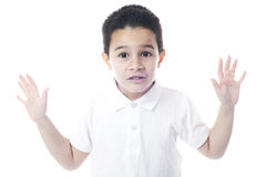 Criança expressivo com mãos abertas Imagens de Stock Royalty Free