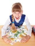 Criança feliz com euro do dinheiro. imagens de stock royalty free
