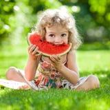 Criança que tem o piquenique Fotografia de Stock