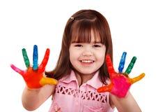 Criança feliz com mãos pintadas coloridas. Imagens de Stock Royalty Free
