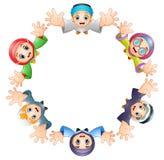 A criança feliz dos desenhos animados comemora o eid Mubarak Fotografia de Stock