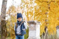 A criança feliz irritada e áspera anda no parque Autumn Day brilhante Árvores com folha amarela outubro morno fotos de stock royalty free