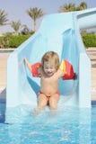 Criança feliz no aquapark Fotografia de Stock Royalty Free