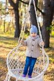 Criança feliz que balança em uma cadeira de suspensão em uma floresta foto de stock