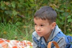 Criança feliz que come frutos menino bonito feliz da criança que come uma maçã as mentiras em uma coberta em um outono estacionam Imagem de Stock Royalty Free