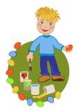 Criança feliz que comemora a Páscoa ilustração do vetor