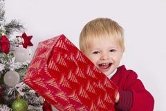 Criança feliz que guarda uma árvore de Natal próxima atual Imagem de Stock