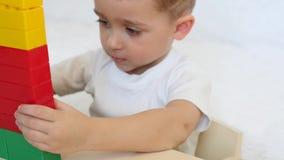 Criança feliz que joga em blocos coloridos, close-up O menino está jogando com o construtor video estoque