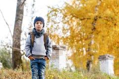 A criança feliz séria e pensativa anda no parque Autumn Day brilhante Árvores com folha amarela outubro morno fotografia de stock royalty free
