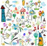 A criança gosta de desenhos Imagens de Stock Royalty Free