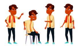 A criança indiana da estudante do menino levanta vetor ajustado Aluno alto Aluno da criança Assunto, inteligente, estudando para  ilustração do vetor