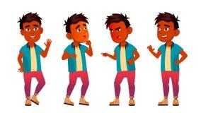 A criança indiana do menino levanta vetor ajustado Criança de escola primária Pessoa positiva inteligente Roupa ocasional Para a  ilustração royalty free