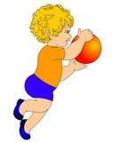 A criança, jogando a esfera Imagens de Stock Royalty Free