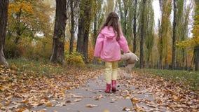 A criança loura pequena alegre da menina joga com o urso de peluche no parque do outono filme