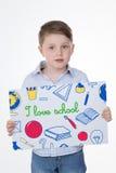 Criança masculina criativa no fundo branco Fotografia de Stock Royalty Free