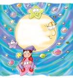 A criança monta uma estrela da estrela, lua Imagem de Stock Royalty Free
