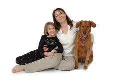 Criança, mulher e cão Fotos de Stock