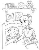 Criança na cama com mamã ilustração royalty free