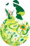 Criança na esfera floral. Foto de Stock