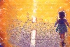 Criança na estrada Imagem de Stock