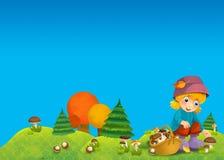 A criança na madeira - crescendo rapidamente - ou outono Imagem de Stock