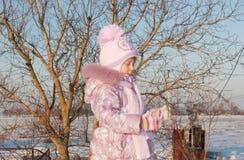 Criança na neve imagens de stock