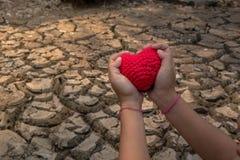 Criança na terra seca Foto de Stock