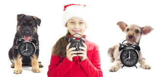 Criança no chapéu de Santa Foto de Stock Royalty Free