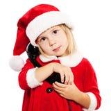 Criança no chapéu de Santa Criança do Natal foto de stock