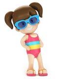 Criança no desgaste da nadada ilustração stock