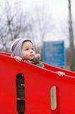 Criança no equipamento de escalada Fotografia de Stock Royalty Free