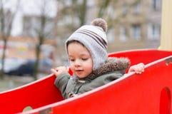 Criança no equipamento de escalada Imagens de Stock Royalty Free
