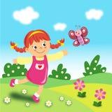 Criança no gramado ilustração do vetor