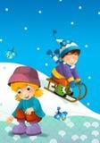 A criança no inverno no pequeno trenó Fotos de Stock Royalty Free