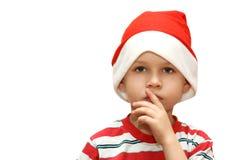 Criança no tampão de Santa Fotografia de Stock Royalty Free