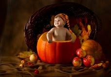 Criança no tampão dentro da abóbora. Colheita do outono Foto de Stock Royalty Free
