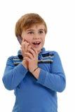 Criança no telefone Imagens de Stock Royalty Free