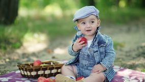 Criança no terno da sarja de Nimes e um tampão que guarda maçãs nas mãos Imagens de Stock Royalty Free