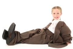 Criança no terno desproporcionado fotografia de stock royalty free