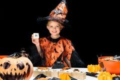 Criança no traje da bruxa Foto de Stock Royalty Free